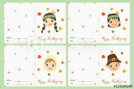 Printable Thanksgiving Cards Happy Thanksgiving Celebration Cards Vector Design Pilgrim