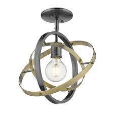 Airplane Light Fixture Home Depot Golden Lighting Atom 10 875 In 1 Light Brushed Steel Semi Flush Mount