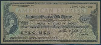 details about 25 american express gift cheque specimen overprint bt3316