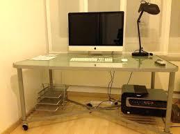 glass desk cable management glass desk on wheels glass computer desk cable management
