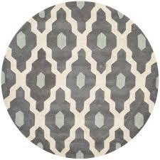 ham ivory dark gray 5 ft x 5 ft round area rug