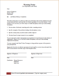 How To Write A Warning Letter To An Employee Employee Warning Notice Templates Ms Word Word Excel