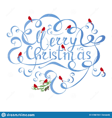 Christmas Swirls Typography Banner Blue Lettering Merry Christmas Swirls