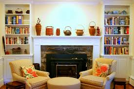 fetching image of living room decoration using twin fireplace wall bookcase including wooden white mantel shelf