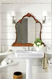wood bathroom mirror digihome weathered: bathroom with mirror and corner shelves