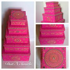 Decorated Money Box Set of 60 henna decorated card board boxeswedding gift box set 21
