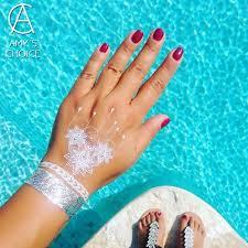 Us 077 14 Offwasserdicht Metallic Gold Silber Weiß Temporäre Spitze Tattoo Für Indien Henna Kronleuchter Muster In Wasserdicht Metallic Gold