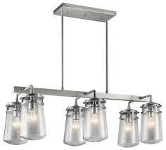 kichler 49835ba lyndon six light outdoor linear chandelier brushed aluminum