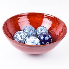 Decorative Balls For Bowl Blue Impressive Blue and White Decorative Balls in Red Bowl EBTH
