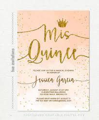 Invitation Quincenera Quinceañera Invitation Coral Peach Watercolor Gold Glitter