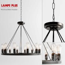 wide round black chandelier 12x