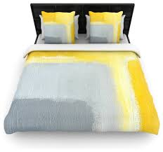 lynn tice inspired gray yellow featherweight duvet cover twin 68 x88