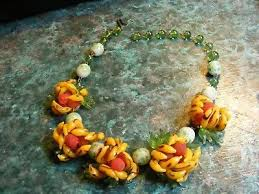 rare vintage 1940s 50s hand blown murano glass banana fruit necklace