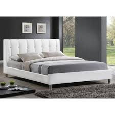 chrome bedroom furniture. Modren Furniture Baxton Studio Vino White Modern Bed With Upholstered Headboard  Full Size On Chrome Bedroom Furniture R