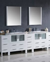 Modern double sink vanity Free Floating Frescatorino96whitemoderndoublesinkbathroom Kitchen Concepts Usa Inc Fresca Torino 96