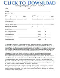 Wedding Photography Contract Form Free Printable Wedding Photography Contract Template Form Generic
