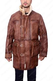 mens shearling brown trench coat