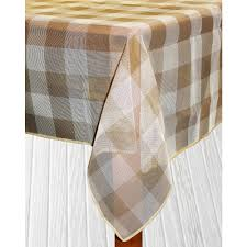 bistro check 70 in round sand vinyl and poly tablecloth