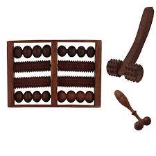 desi karigar wooden set of wooden 8 roller foot feet massager for stress acupressure feet care finger face massager hand massager