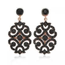 black zirconia earrings chandelier