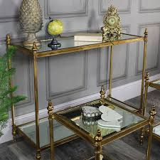 Antique mirrored furniture Rose Gold Antique Gold Mirrored Console Table With Side Tables Houzz Antique Gold Mirrored Console Table With Side Tables Melody Maison