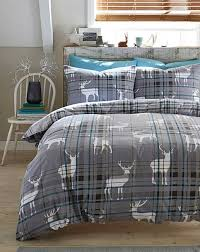 stags brushed cotton grey duvet cover set