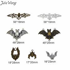 <b>Julie Wang</b> 7pcs <b>Antique</b> Silver Bronze Bat Animal Pendant Metal ...