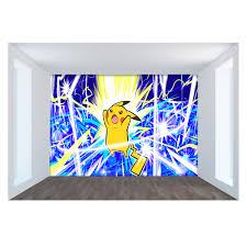Tự Dính] 3D Pokemon Sét Pikachu 3 Nhật Bản Phim Hoạt Hình Tường Giấy Tường  bức