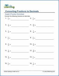 6th grade multiplication worksheets, lessons, and printables. Grade 6 Fractions Vs Decimals Worksheets Free Printable K5 Learning