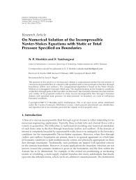 on numerical solution of the incompressible navier stokes equations with static or total pressure specified on boundaries pdf available
