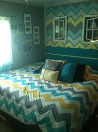 Lovely Turquoise Yellow And Grey Bedroom | Chevron Themed Bedroom Using Yellow  Gray Turquoise | For The Home!