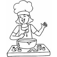 Small Picture Happy Cooking Girl Coloring Page