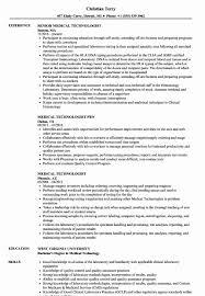 20 Sample Resume For Medical Technologist