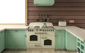Retro Kitchen Ideas with Beige Stove Kitchen Appliance, Kitchen Hook  Spatula, and Kitchen Bread