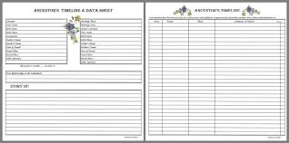 Family Ancestor Timeline Data Charts Data Charts