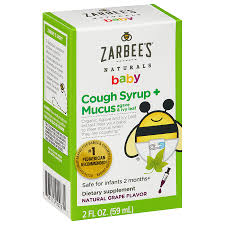 Zarbees Naturals Baby Cough Syrup Mucus Reducer Grape