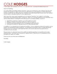 Example Teacher Cover Letters Leading Professional Assistant Teacher Cover Letter Examples