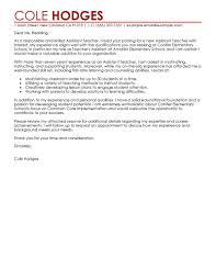 Teacher Cover Letter Example Leading Professional Assistant Teacher Cover Letter Examples