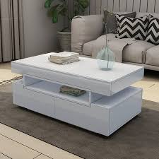 new modern white coffee table 4 drawer