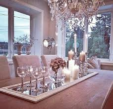 lovely table center piece add a mirror for elegance and crystal gles a vase and candles