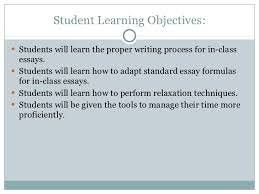 in class essays exams  5 student learning objectives