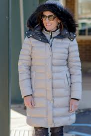 fashion for women over 40 andrew marc le quilted down coat with detachable fur