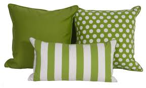 Green Outdoor Pillows With Polka Dot Pattern Als Vertical White