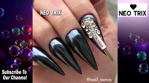 Best Black Nail Art - Long Nails Tutorial - How To Apply Acrylic ...