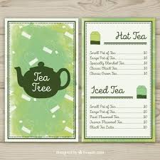 Tea Menu Template With Watercolor Style Vector Free Download