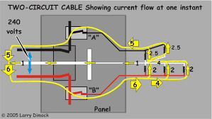 weird circuit problem at home diagram of current flow in a double circuit sharing the neutral