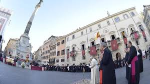 """Résultat de recherche d'images pour """"pape François 8 décembre 2018, Place d'Espagne à Rome"""""""