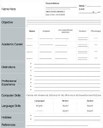 Fill In The Blank Resume Free Simple Resume Format