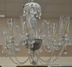 cut colorless crystal chandelier with six arms and hurricane shades ht without chain 48in dia approximately 48 in provenance collection of anne