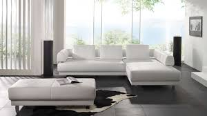 modern leather sofas. Living Room : Fantastic L Shape White Modern Leather Sofa Inspiration With Rectangle Laminated Ottoman Also Cowhide Rug Sofas